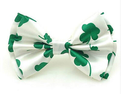 Unisex Fancy Dress White & Green 4 Leaf Clover Irish Novelty Bow Tie - Brand New