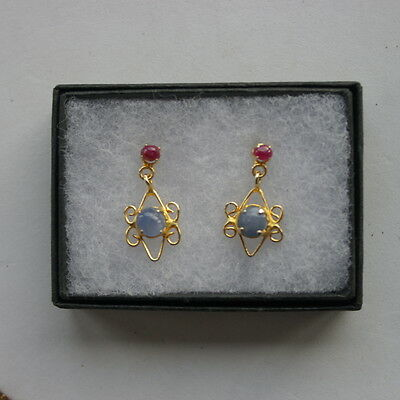 Nice Yellow Gold Plated Earrings With Ruby / Opaline 2.4 Gr. 2.5 Cm Long In Box