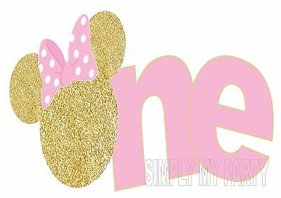 Iron On Transfer / Sticker - Minnie Mouse - Gold 1St Birthday - One - Cake Smash
