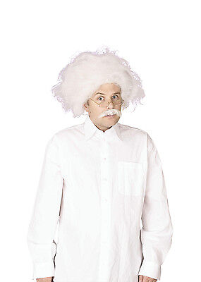 Einstein / Mad Professor Crazy Scientist Fancy Dress Wig & Moustache Set P8091