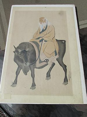Antique Chinese fine hand painted on silk elder man oxen signed