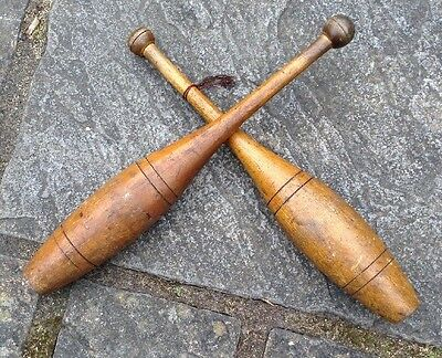 Antique Vintage Wooden Indian Exercise Juggling Clubs Batons Superb Patina
