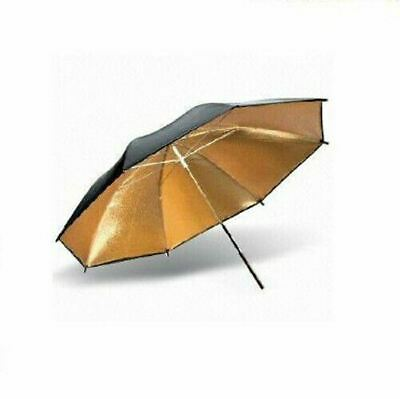 "33""83cm Photo Studio Flash Light Reflector Reflective Black Gold Umbrella x2 PK"