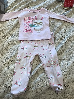 EUC Carters Just One You Baby Girls Snug Fit Pink Bunny Pajamas Size 12 Months