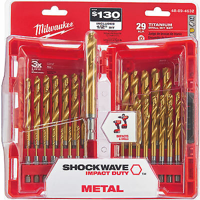 "29pc 1/16""~1/2"" Impact Duty Titanium Drill Bit Set Milwaukee 48-89-4632 New"