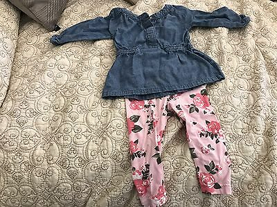 CARTER'S BABY GIRL TWO PIECE Denim Chambray Set top and leggings SIZE 6 MONTHS