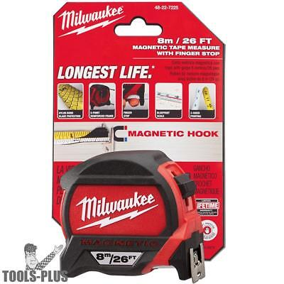 8 Meters Metric Magnetic Tape Measure Milwaukee 48-22-7225 New
