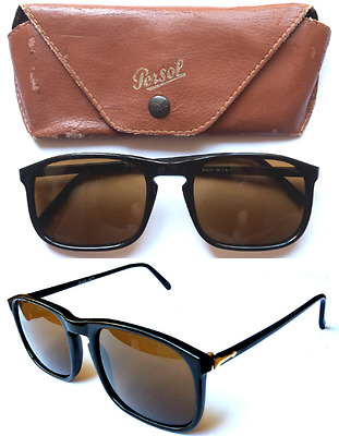 Persol Ratti 09241 Black VINTAGE 1980s Sunglasses RARE Italy Smoke Etched Lens