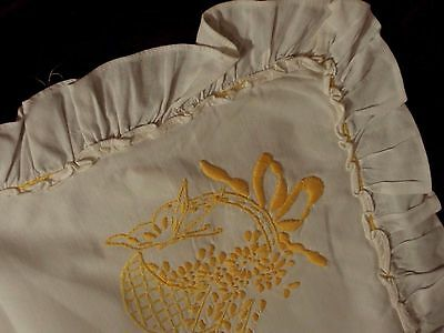 BUTTERFLY PILLOW SHAMS Baskets BOWS YELLOW Hand Embroidered White Pair VINTAGE