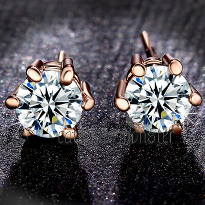 18K Rose Gold Gf 1.2Ct Soliraire Signity Diamond Mens Womens Solid Stud Earrings