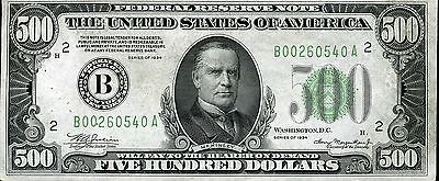 $500 Federal Reserve Note Series 1934 B00260540A FR2201