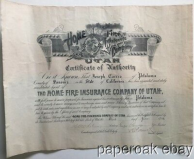 Original 1913 Home Fire Insurance Of Utah Agent Certificate