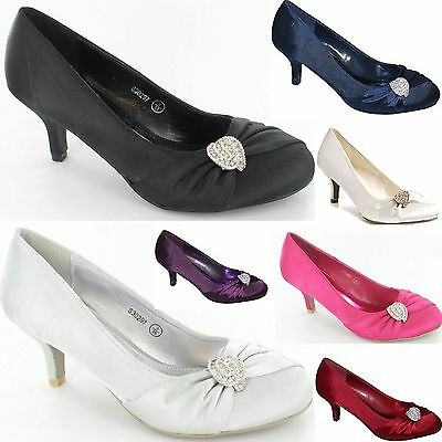 Ladies Womens Girls Mid Heel Bridal Bridesmaid Wedding Party Shoes New Size