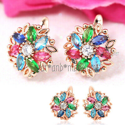 18K ROSE GOLD GF CLASSIC DRESS ROUND STUD EARRINGS made with SWAROVSKI CRYSTALS