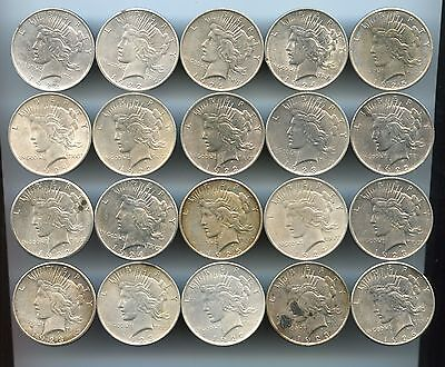 (20) Mixed Date ~ Peace Silver Dollar Roll ~ Au