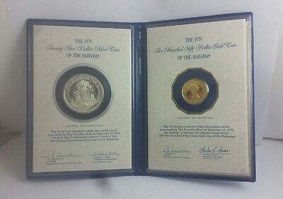2 Piece 1979 Gold & Silver Bahamas Proof Coin Set In Folder With Coa