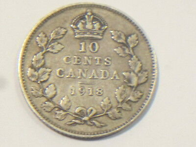 1918 10C Canada 10 Cents coin