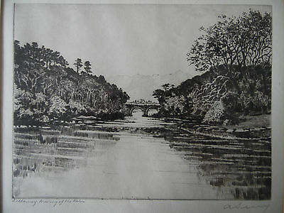 Killarney,Meeting of the Waters Signed Etching A Simes/Edgar J Maybery Listed