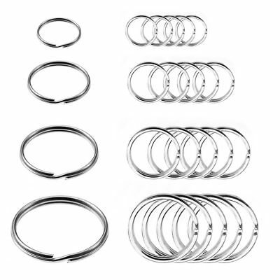 24 Pc Split Key Rings Assorted Sizes Nickel Plated Tempered Steel Chain Keyrigns