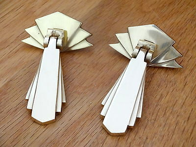 2 X Brass Art Deco Door Or Drawer Pull Drop Handles Cupboard Furniture  Knobs
