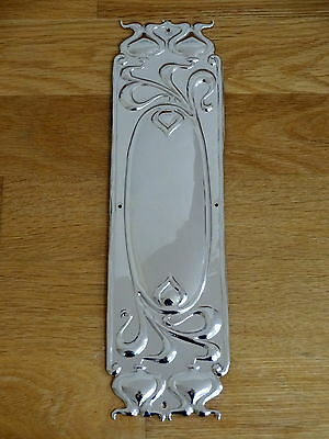 Nickel Plated Art Nouveau Finger Door Push Plate Fingerplate