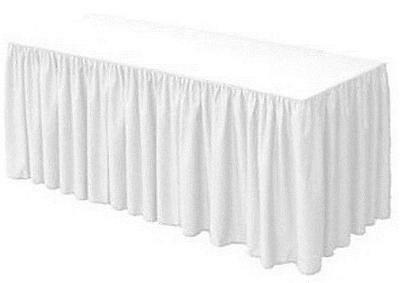 URBY 8 ft Fitted Table Skirt Cover Wedding Banquet with Top Topper Tablecloth -