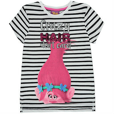 George Girls Official DreamWorks Trolls Poppy Striped T Shirt Top