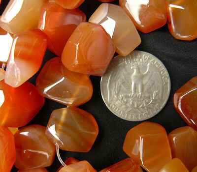 Carnelian Gemstone Faceted Beads, Top-side drilled. 31count