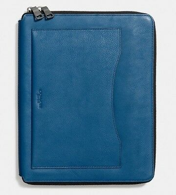 NWT COACH TECH CASE In Pebble Leather Denim Zip Around MSRP: $150