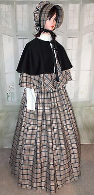 Ladies Victorian Outfit Dickens 3 part Gentry Costume Tartan Fancy Dress New