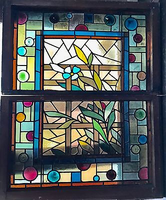 Antique double hung Eastlake stained glass window