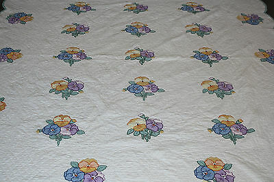 Beautiful Vintage Applique Kit? Quilt With Shades Of Lavender & Blue Pansies