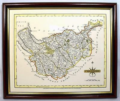 Antique 1787 Map of Cheshire by J Cary, Framed