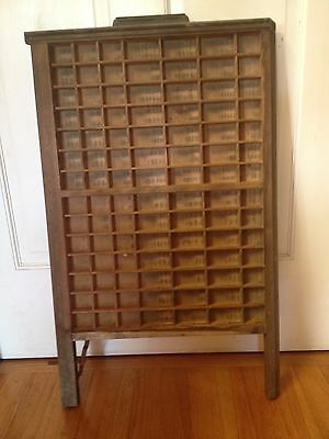 Vintage Ludlow Printer's Letterpress Type Tray Drawer Shadow Box 98 Compartments
