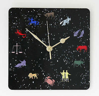 Square Wall Clock – Signs of the Zodiac - Astrologers Gift - Size 19cm by 19cm