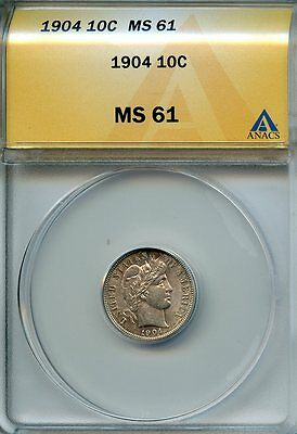 1904 10c ANACS MS 61 (MINT STATE, UNCIRCULATED) BARBER DIME