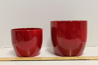2 Red Planters; Marked Made In Germany; Resemble Waechtersbach Pottery