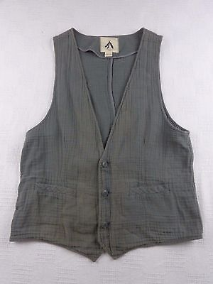 Feathers Men's Sz XL Gray Sleeveless Vest Button Up 100% Cotton Urban Outfitters