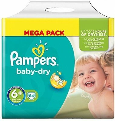 Pampers Baby-Dry Jumbo+ Pack - Size 6+, 64 Nappies