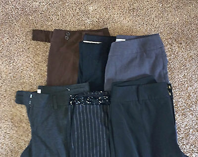 LOT D 6 Pairs Women's Designer Career Dress Pants Slacks Trousers 10 M MEDIUM