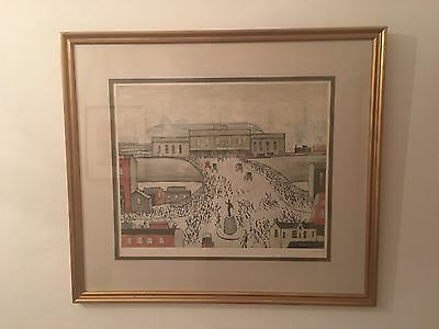 L.S. Lowry Station Approach Print, Limited Edition. Pencil Signed, Rare.