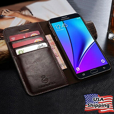 Samsung Galaxy Note 8 / S8 Plus SLIM Genuine Leather Wallet Card Case Flip Cover