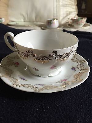 Estate Vintage Made in Germany floral cup and saucer. cup is numbered
