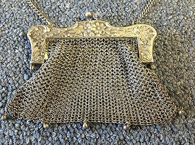 AMAZING DETAIL ~ Antique Victorian German Silver Mesh Bag / Coin Purse Pouch