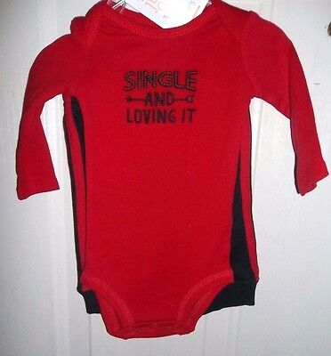 nwt-Boys'-CARTERS-2 piece set-bodysuit-pants-SINGLE AND LOVING IT- 3 MONTHS