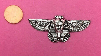 Antique Silver Plated Brass Winged Egyptian Goddess - 1 Pc