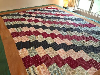 Antique Vintage QUILT TOP Circa 1890 Streak of Lightening Old Fabrics