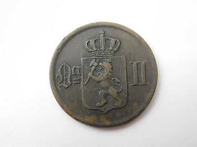 1876 Norway 2 ore  coin foreign (1258)