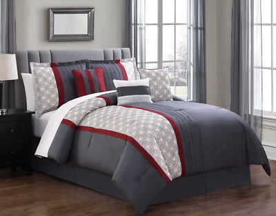 7 Piece Mila Red/Gray Comforter Set
