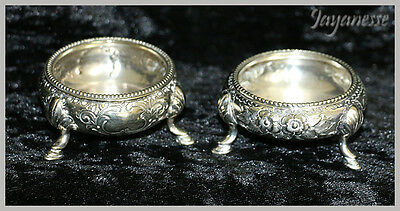 Antique pair of William Naylor English EPNS silver plated 3 footed salt pots